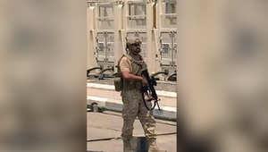الشيخ ذياب بن محمد بن زايد آل نهيان، نجل ولي عهد أبوظبي، خلال مشاركته ضمن قوات التحالف العربي في اليمن