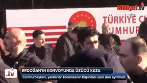 حافلة أردوغان تدهس أحد حراسه الشخصيين