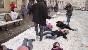 مظاهرة أمام مقر الجيش الروسي لدعم مثليي الجنس