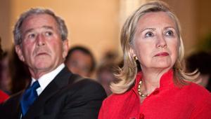 جورج بوش ينفي التصويت لهيلاري كلينتون