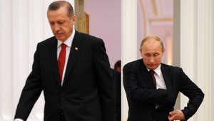 الرئيس الروسي فلاديمير بوتين ورئيس الوزراء التركي رجب طيب أردوغان في مؤتمر صحفي بعد اجتماع بينهما لمناقشة الخلافات حول سوريا في يوليو 2012