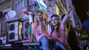 أنصار حزب الشعب الديمقراطي الموالي للاكراد يحتفلون بنتائج الانتخابات التشريعية، في ديار بكر