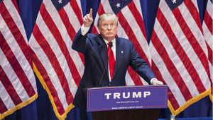 دونالد ترامب خلال مؤتمر صحفي أعلن فيه ترشحه للرئاسة الأمريكية، نيويورك 16 يونيو/ حزيران 2015
