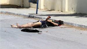 صورة لجثة منفذ الهجوم على فندق بمدينة سوسة التونسية بعد قتله من قبل قوات الأمن 26 يونيو/ حزيران 2015