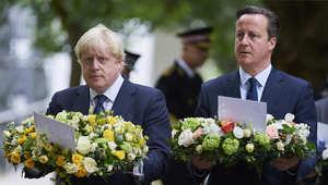 رئيس الوزراء البريطاني ديفيد كاميرون مع عمدة لندن يشاركان في حفل الذكرى العاشرة لضحايا هجمات 7 / 7 في لندن والتي ذهب ضحيتها 52 شخصا