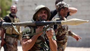 مقاتل عراقي من قوات الحشد الشعبي في الصقلاوية بمحافظة الأنبار 15 يوليو/ تموز 2015