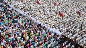 صلاة العيد في المغرب الذي أعلن السبت أول أيام عيد الفطر، 18 يوليو/ تموز 2015