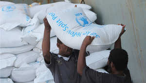 إنزال مساعدات من برنامج الغذاء العالمي في عدن، 21 يوليو/ تموز 2015