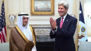 وزيرة الخارجية الامريكية جون كيري ووزير الخارجية السعودي عادل الجبير بوزارة الخارجية في واشنطن