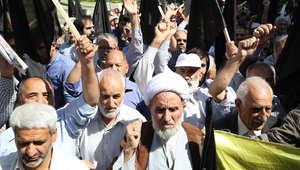 بالصور.. مظاهرات بإيران ضد السعودية بعد حادثة التدافع في منى