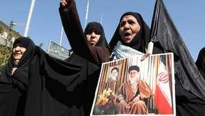 جانب من المظاهرات ضد السعودية بعد مقتل أكثر من مائة حاج إيراني في الحج خلال تدافع منى
