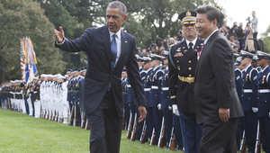 """أوباما والرئيس الصيني يتفقان على """"قنوات اتصال"""" لتفادي المواجهة العسكرية.. وعدم دعم القرصنة الإليكترونية"""