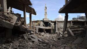 صورة تظهر المباني المتضررة في بلدة تلبيسة بحمص