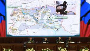 كبار المسؤولين العسكريين في روسيا خلال مؤتمر صحفي حول مكافحة الإرهاب في سوريا