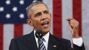 الرئيس الأمريكي باراك أوباما يلقي خطابه عن حالة الاتحاد الذي ألقاه أمام جلسة مشتركة للكونغرس في 12 يناير 2016