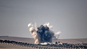 صورة أرشيفية لهجوم شنته طائرات تركية على مواقع لمتشددين شمال سوريا الشهر الماضي