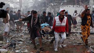 عشرات القتلى ومئات الجرحى في قصف على دار عزاء في صنعاء.. والحوثيون يتهمون السعودية