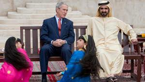 الرئيس الأمريكي جورج بوش وحاكم دبي الشيخ محمد بن راشد آل مكتوم خلال زيارة لمنزل الشيخ سعيد آل مكتوم بدبي في 14 يناير 2008
