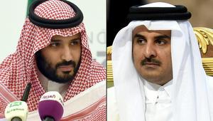 صورة مركّبة تظهر ولي العهد السعودي الأمير محمد بن سلمان وأمير قطر الشيخ تميم بن حمد آل ثاني