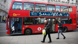 """""""سبحان الله"""" على الحافلات البريطانية بعد أول عمدة مسلم في لندن"""