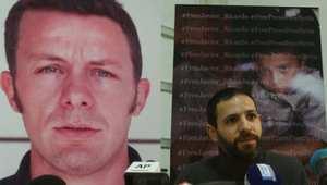 من مؤتمر صحفي في بيروت دعما لاسبينوزا الذي تظهر صورته بالخلفية