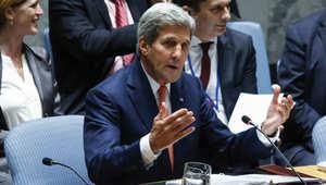 كيري خلال مشاركته بجلسة مجلس الأمن الدولي