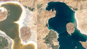 تضاؤل حجم بحيرة يرفع الشكوك بأزمة جفاف في إيران