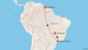 خريطة توضح المسافة بين وجهة الطالب والمدينة التي انتهى إليها