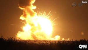 لحظة انفجار الصاروخ بعد إطلاقه بثوان