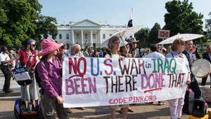 جماعات مناهضة للحرب ترفع أمام البيت الأبيض شعارات تطالب بعدم التدخل عسكريا بالعراق