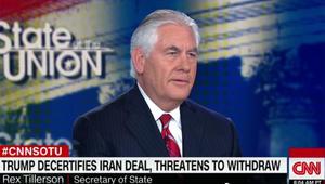 تيلرسون لـCNN: نريد التعامل مع جميع تهديدات إيران وليس فقط الاتفاق النووي