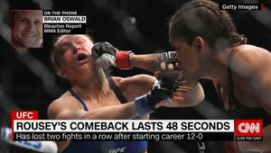 """بعد غياب 13 شهراً.. حلم روندا راوزي بتعويض خسارتها لقب بطولة """"UFC"""" للألعاب القتالية يتحطم في 48 ثانية"""