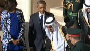 استقبال الملك سلمان بن عبدالعزيز للرئيس الامريكي باراك اوباما