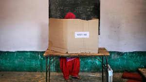 امرأة هندية تصوت في الانتخابات العامة في الهند 10 أبريل/ نيسان.