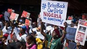 مسيرة باتجاه القنصلية النيجيرية في جوهانسبرغ لدعوة الحكومة النيجيرية لإنقاذ التلميذات المختطفات