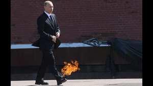 الرئيس الروسي، فلاديمير بوتين، خلال مراسم الاحتفال بذكرى النصر في موسكو.