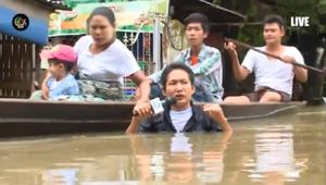 بالفيديو.. مراسل ينقل فيضانات ميانمار من وسطها