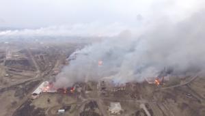 حريق ضخم في أكبر مستودعات الأسلحة بأوكرانيا