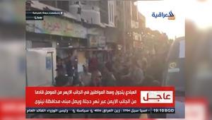 لقطات تظهر سير العبادي في الجانب الأيسر بمدينة الموصل