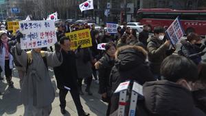 مظاهرات ضد كوريا الشمالية قبل اختتام الأولمبياد الشتوية