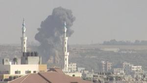 الطائرات الحربية الإسرائيلية شنت سلسلة غارات جوية على غزة