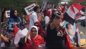 الجالية المصرية في أمريكا تستقبل السيسي: يحيا السيسي.. وندعم الجيش المصري