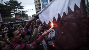 من مظاهرات مناهضة لقطر في القاهرة