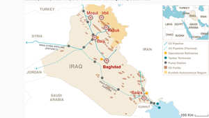 على الخريطة.. مناطق توزع النفط العراقي مقارنة بالمواقع التي تسيطر عليها داعش