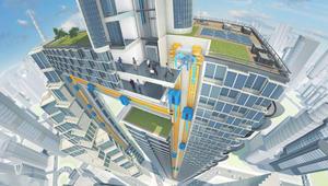 مصعد يتحرك بجميع الاتجاهات ويخرج من المبنى إلى الشارع!