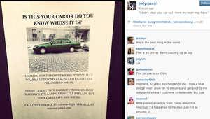 صورة انستغرام تظهر الملصق الذي نشر للعثور على صاحب السيارة