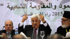 رئيس السلطة الفلسطينية محمود عباس خلال الاجتماع