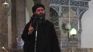 أبو بكر البغدادي خلال خطبته في الموصل بالعراق
