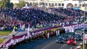 """فيديو استقبال أمير قطر بـ""""مسير"""" اليوم الوطني"""