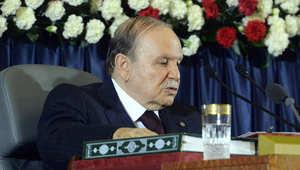 الرئيس الجزائري عبد العزيز بوتفليقة يلقي خطابا بعد فوزه في الانتخابات الأخيرة